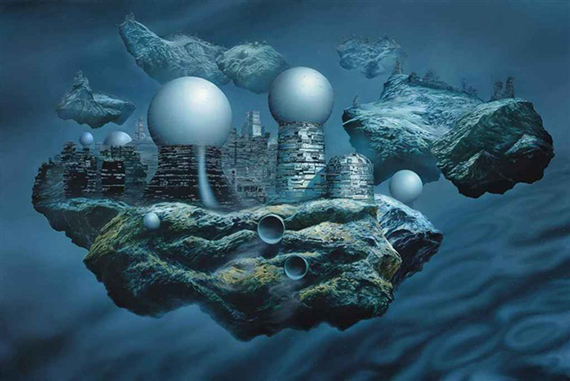 Glenn Brown Bocklin's Tomb (Copied from Floating Cities by Chris Foss)